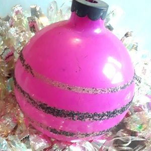 Vintage Glass Ornament BRIGHT PINK mica stripe